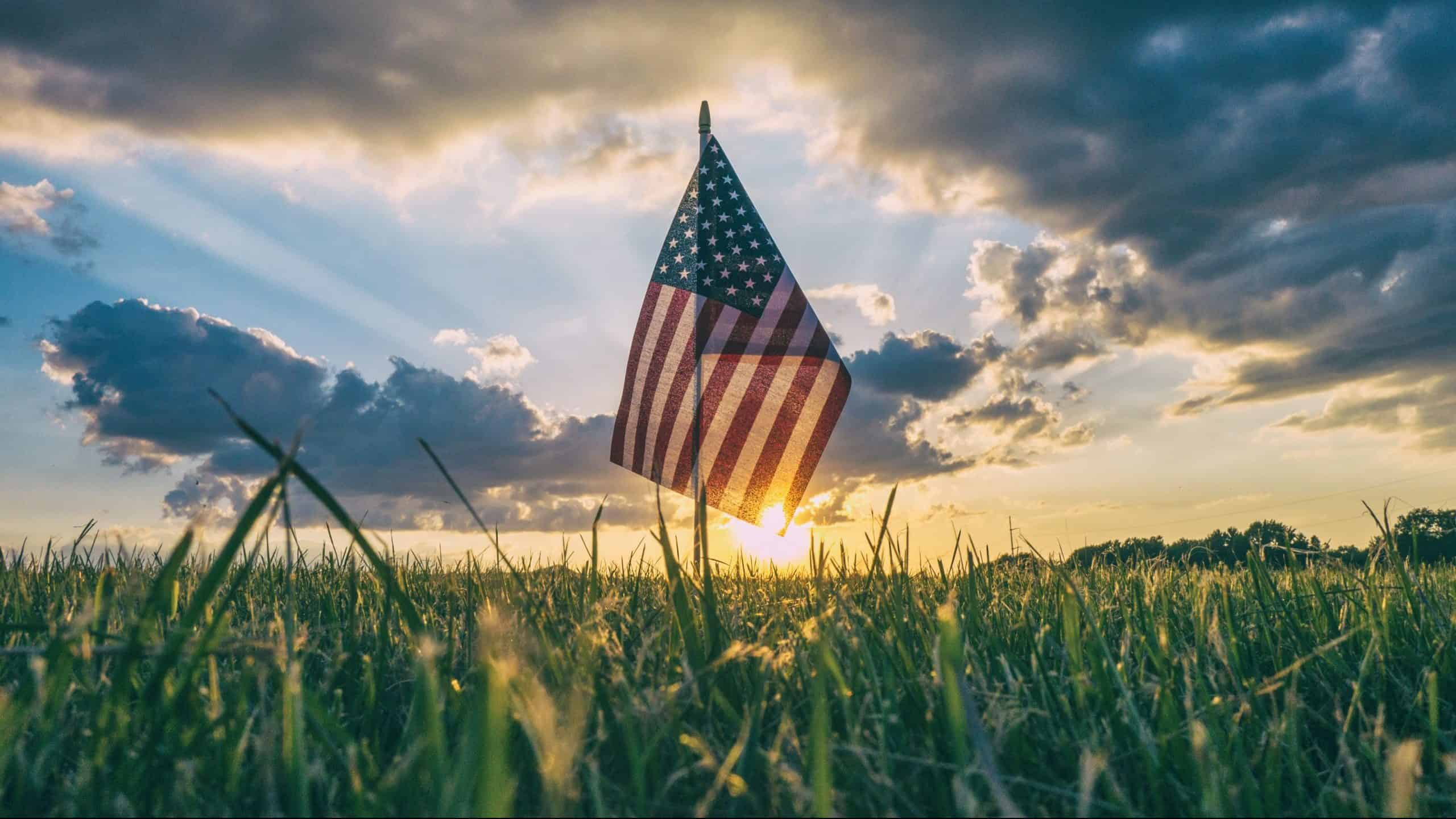 flag of USA on grass field